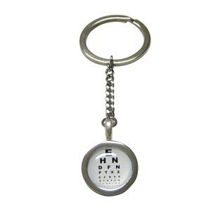Bordered Round Optometrist Design Pendant Keychain